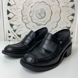 DKNY Black Leather Womens Heel Loafers
